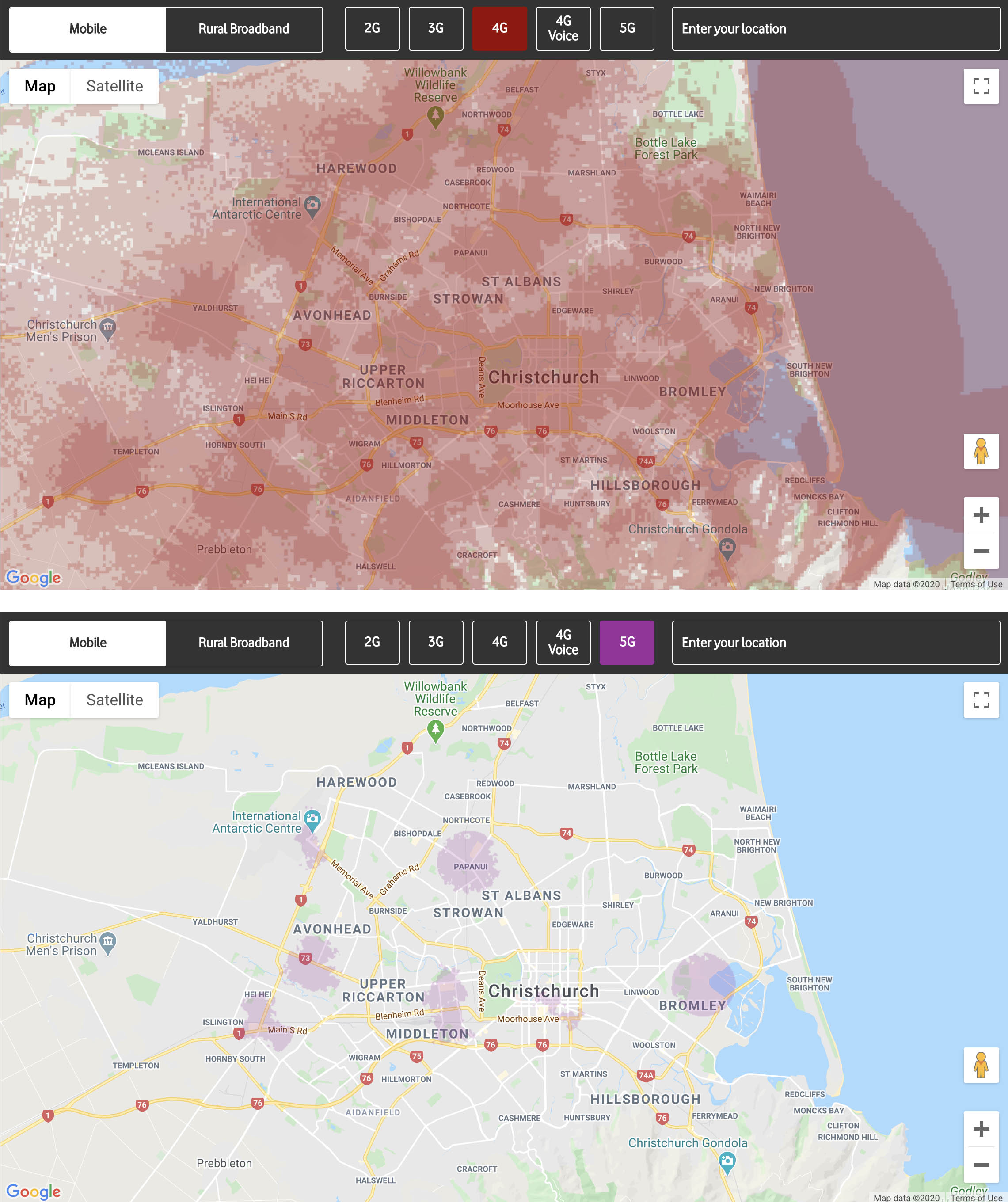 Coverage maps of Christchurch for Vodafone 4G and 5G, 4G hasvastly more coverage.