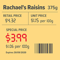 Unit pricing label template.