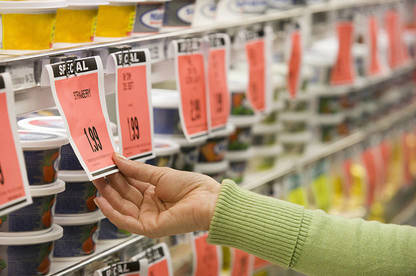 Supermarket special price tags.