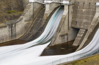 Water flowing out of hydro dam.