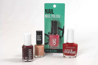 Essie, Maybelline, OXX and Rimmel nail polishes.