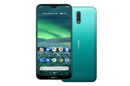 The Nokia 2.3 showing front and rear of phone