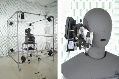 An image showing the acoustic chamber and robot head used in the perceptual objective listening quality analysis or quot;sound testquot;.