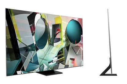 Two views of Samsung Q950TS 8K TV showing the front and the side.