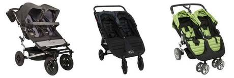 Photograph of three side-by-side strollers.