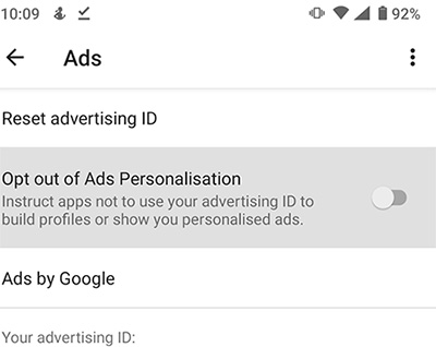 Image of Ads personalisation settings.
