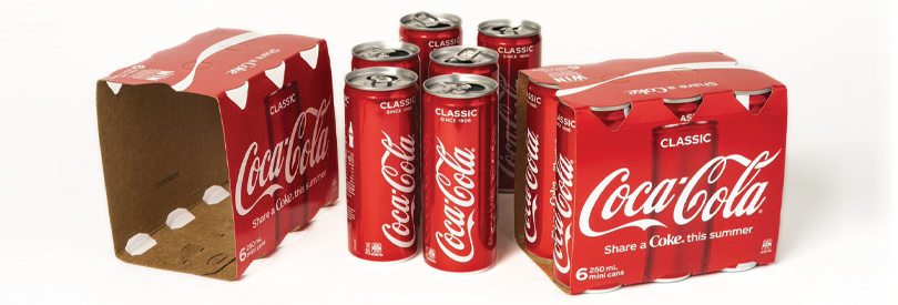 Photograph of 6-pack of Coca Cola.