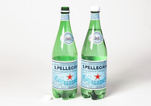 Photo of San Pellegrino bottles.