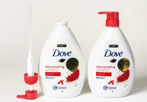 Photo of Dove body wash bottle.