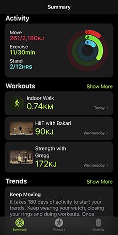 Screenshot of Apple Fitness+ activity summary.