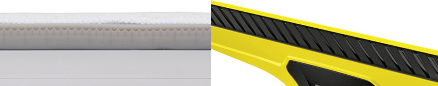 Photograph of Anko window vacuum cleaner blades vs. Karcher's blades.