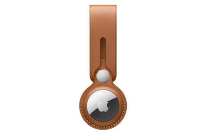 Photograph of Apple Airtag saddle brown leather loop.