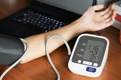 Blood pressure checking at home.