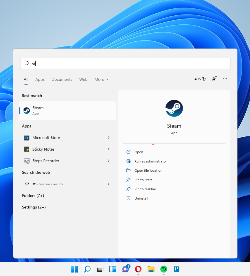 Screenshot of Windows 11 new interface.