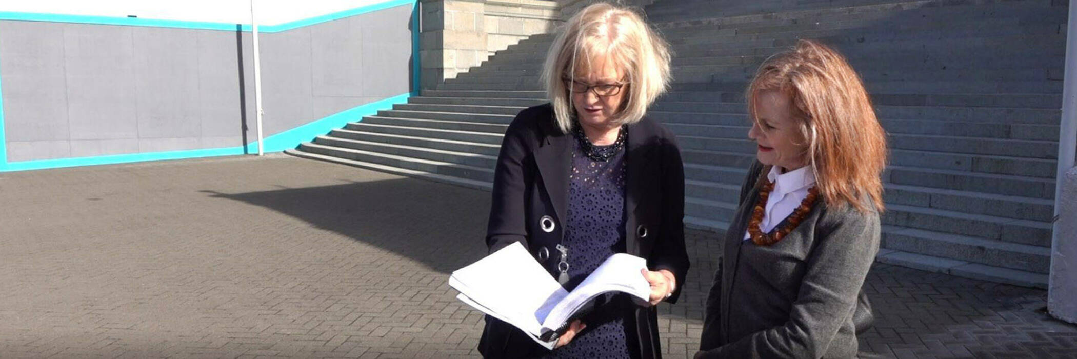 Sue Chetwin presenting petition to Minister of Commerce and Consumer Affairs Jacqui Dean