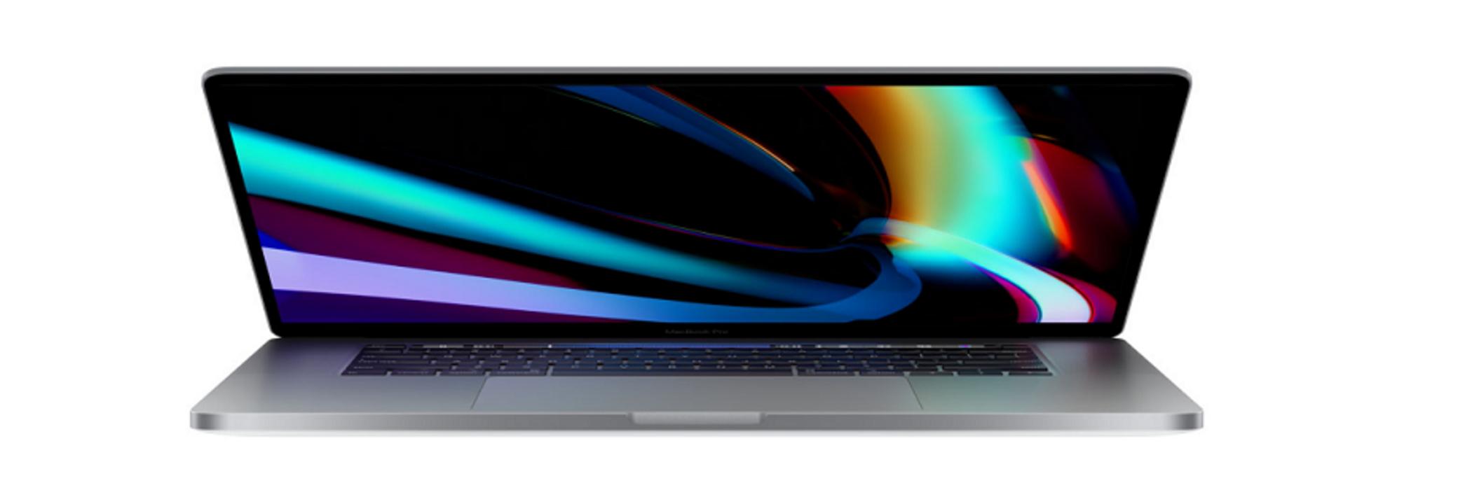 The MacBook Pro half opened