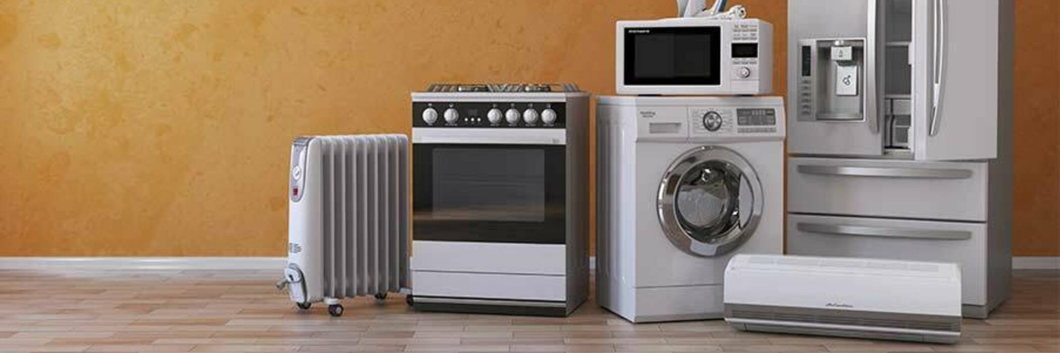 Kitchen, heating and laundry appliances.