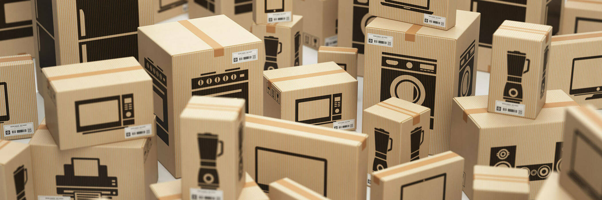 Boxes containing household appliances