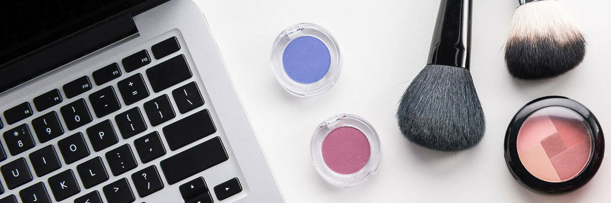 laptop and cosmetic products