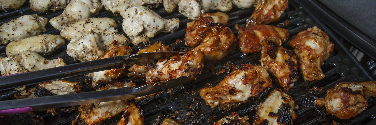 Chicken nibbles grilled on a Weber barbecue