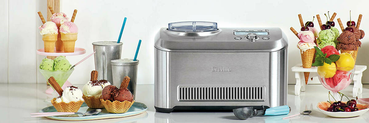 Breville the Smart Scoop ice cream maker surrounded by ice creams.