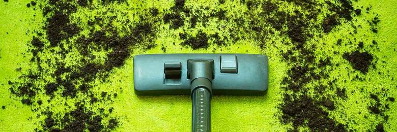Vacuum cleaner head cleaning up dirt on green carpet.
