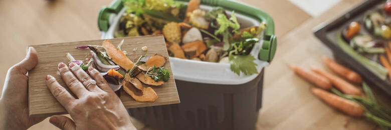 Making compost from vegetable leftovers stock.