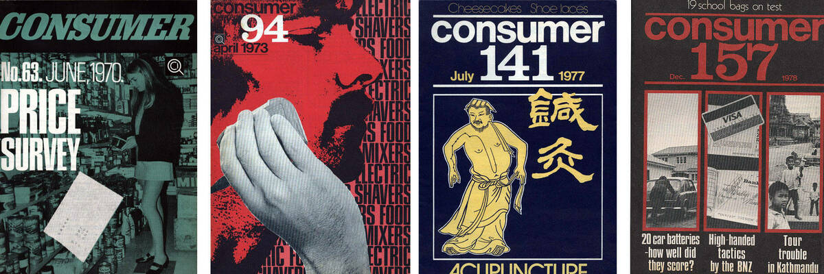 Consumer NZ magazine covers from the 1970s.