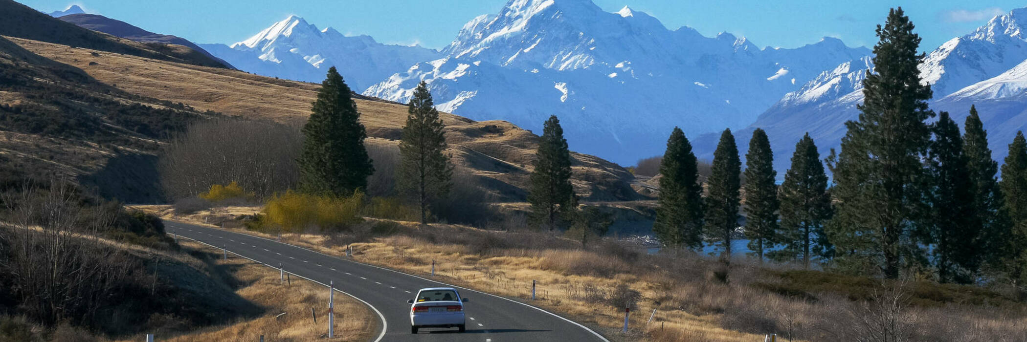 Car driving on road to Mt Cook
