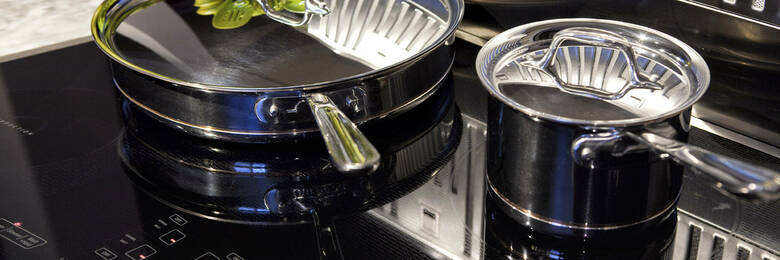 Saucepans on induction cooktop