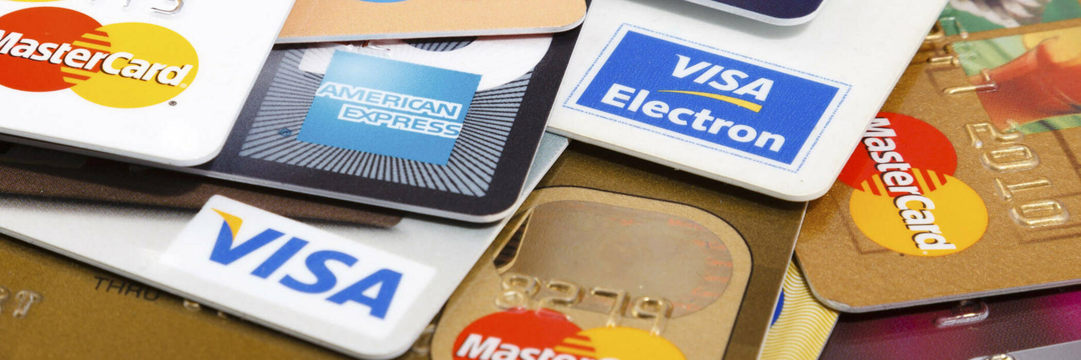 Pile of different types of credit cards