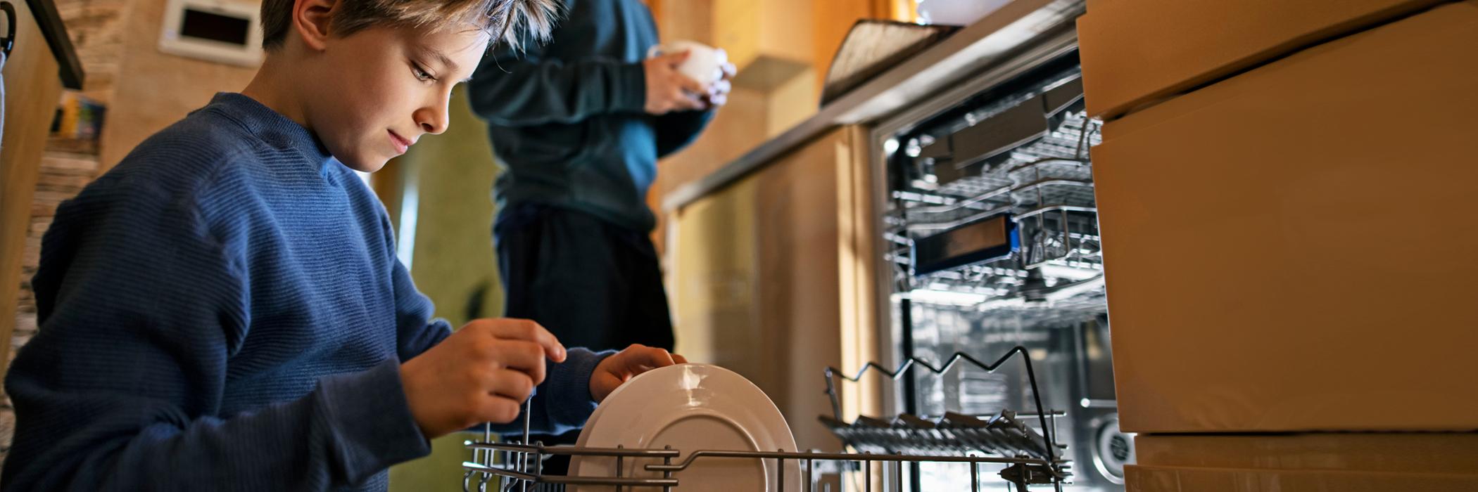 Little boys loading the dishwasher.