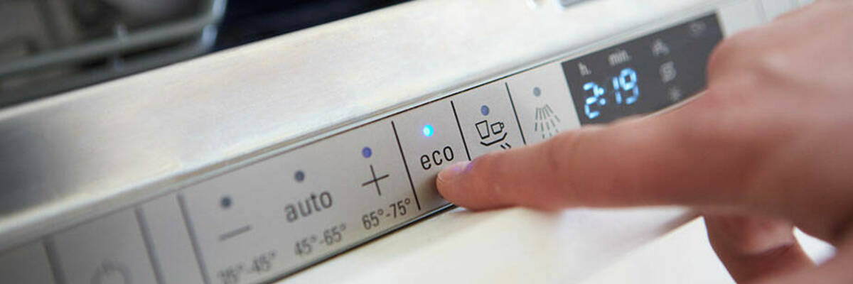 Running eco mode on dishwasher.