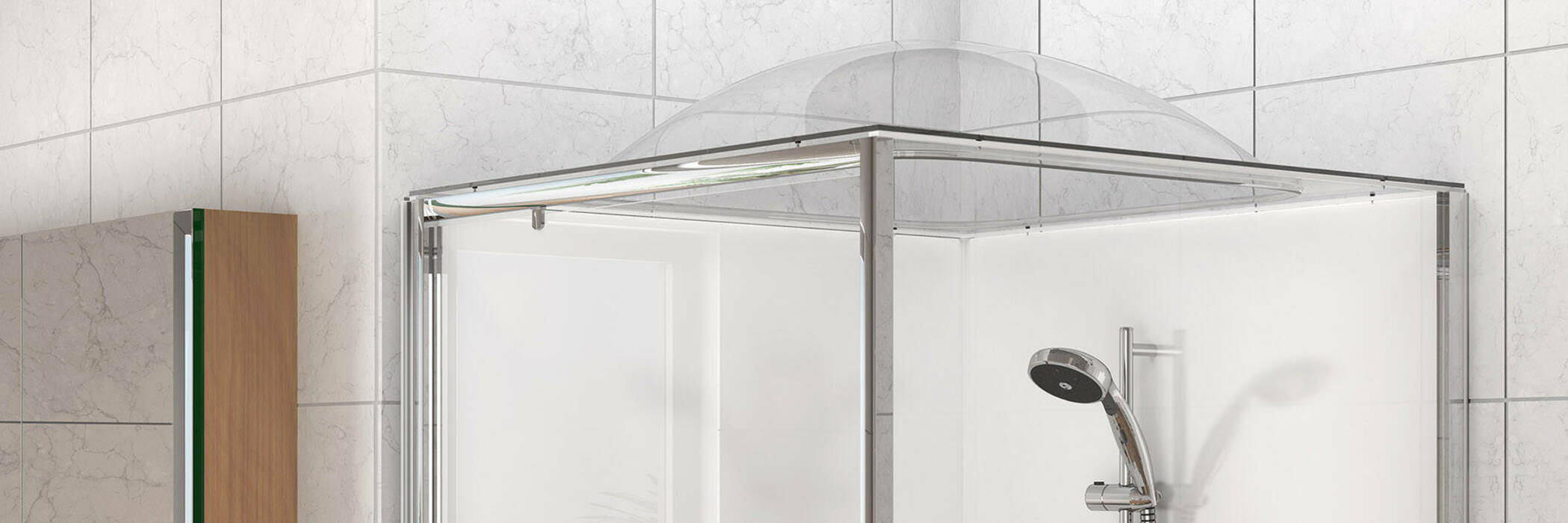 A shower with a Showerdome installed on top.