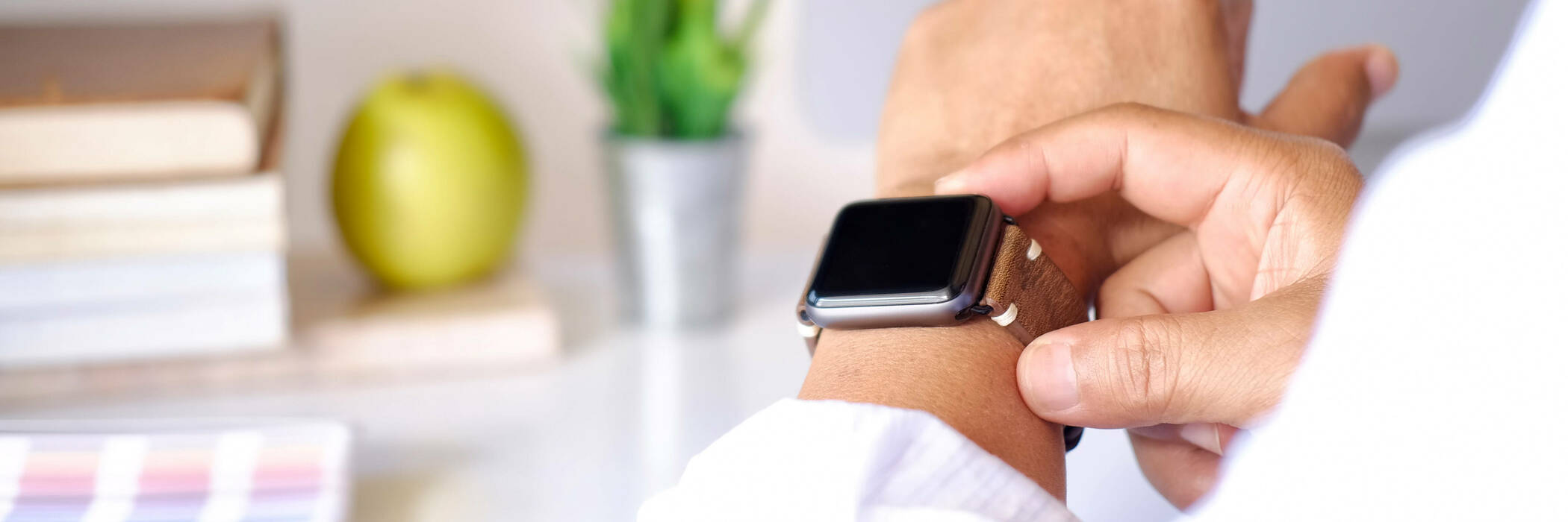Man checking smartwatch
