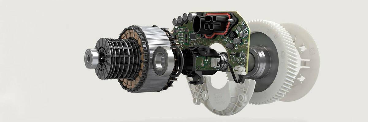 Three-dimensional diagram of electric bike motor.