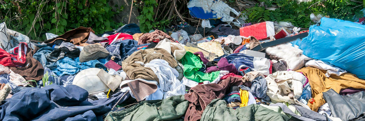 Pile of clothing in landfill