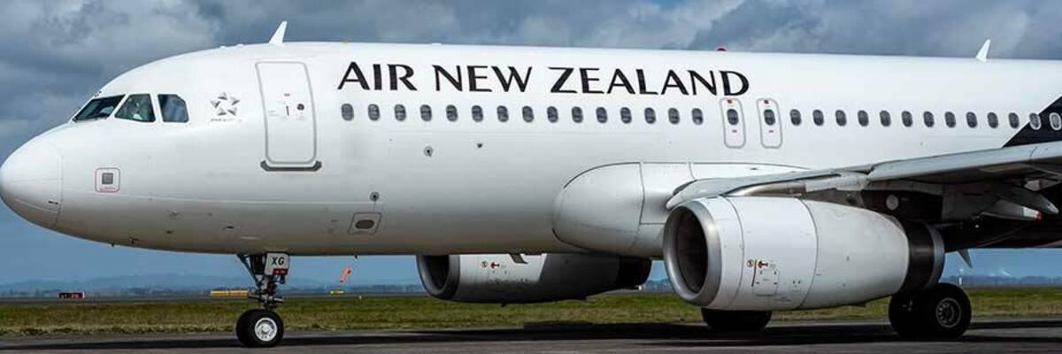 Air NZ plane on runway.