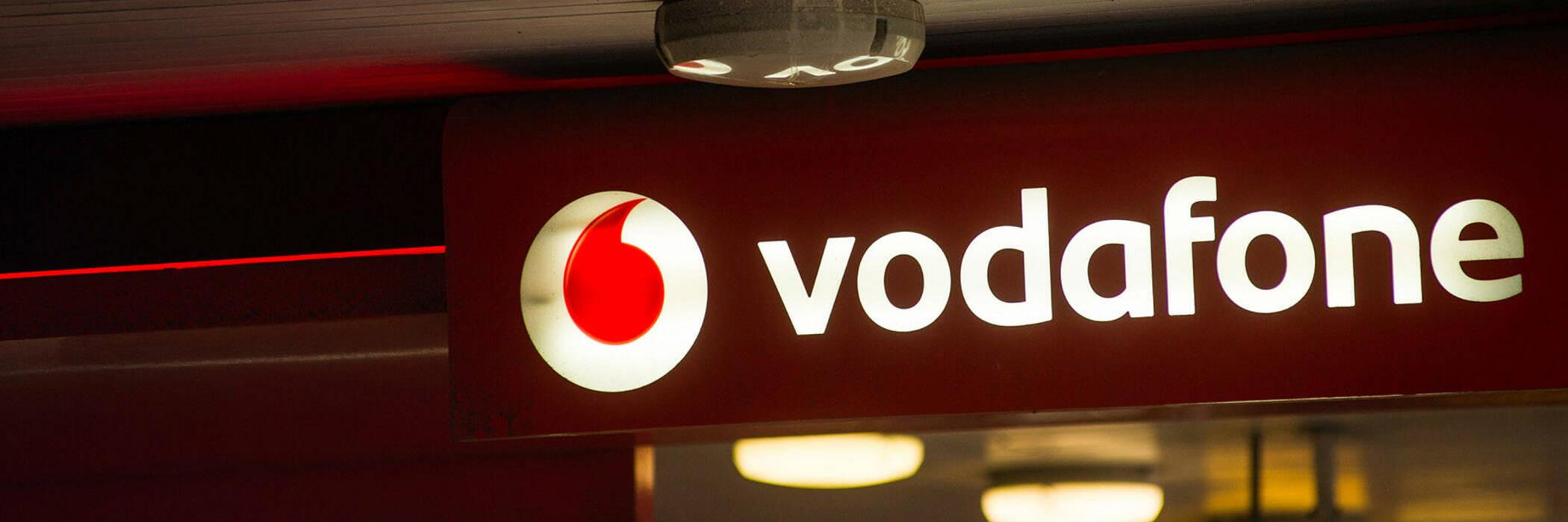 Vodafone shop sign.