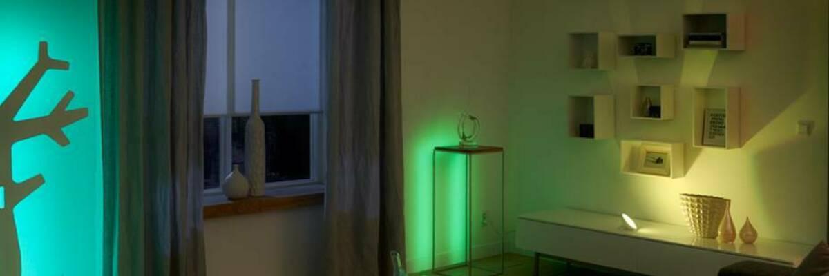 Room lit by Hue light bulbs.