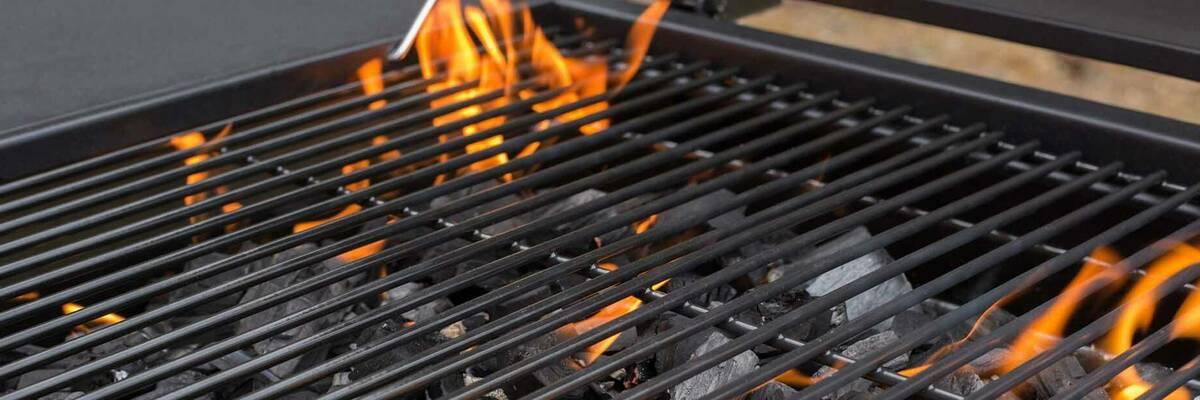BBQ grill on fire.