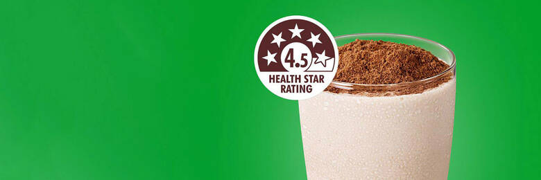 Glass of Milo with 4.5 health star rating