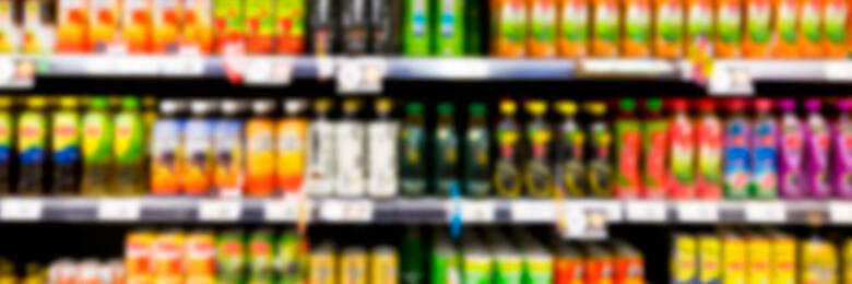 Drinks on a supermarket shelf