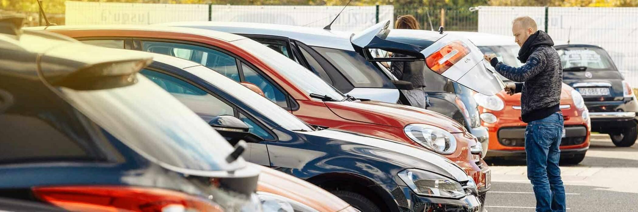 Man looking at cars at dealership.