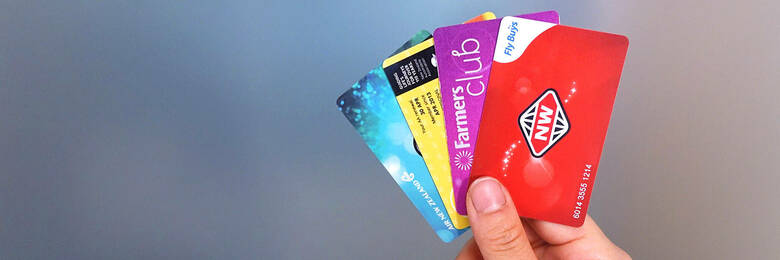 Loyalty cards for New World Clubcard, Farmers, AA Smartfuel and Airpoints.