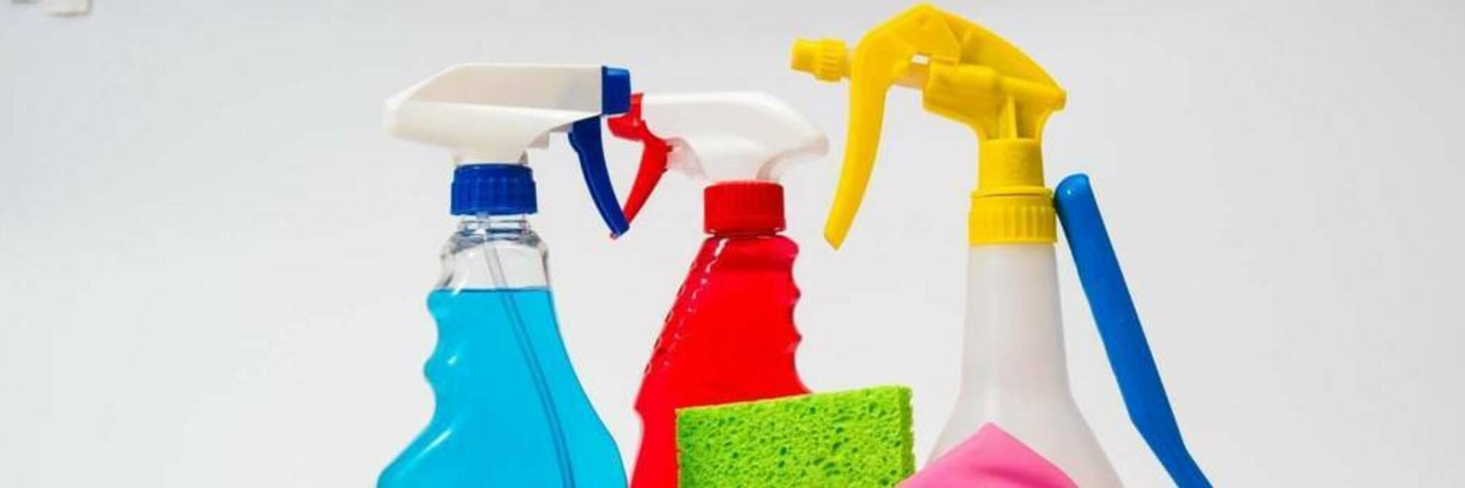 Household cleaner spray bottles.