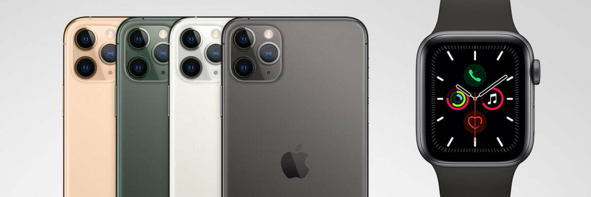 iPhone 11 Pro in different colours and Apple Watch 5 in grey.