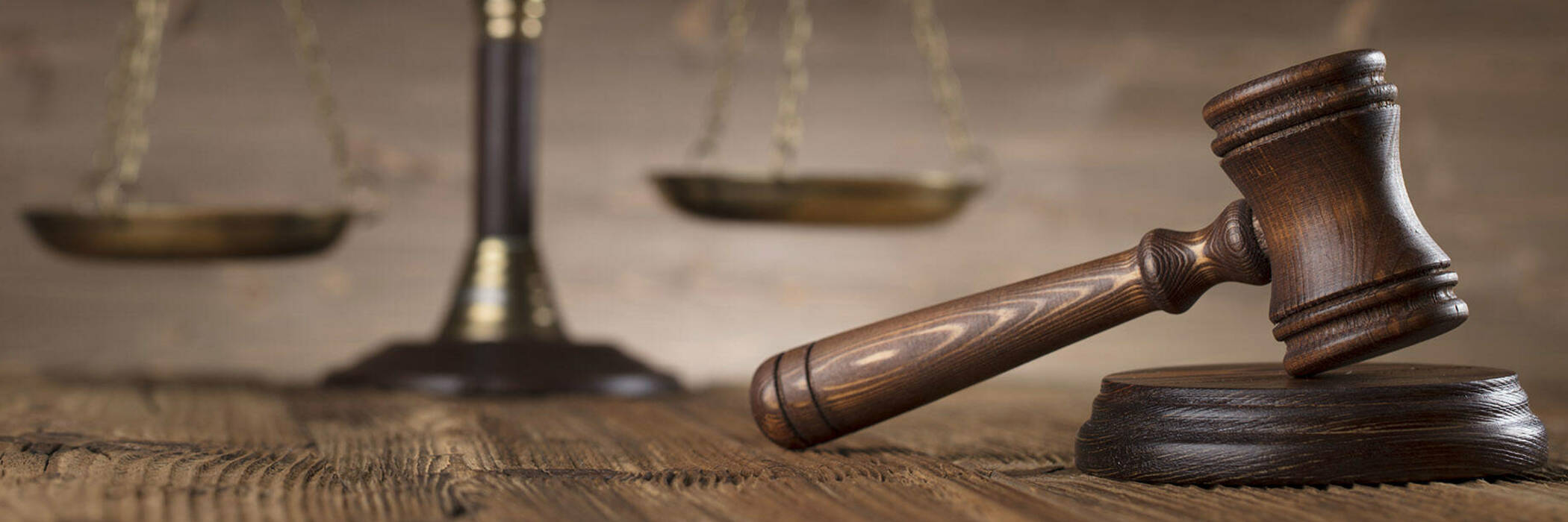 scales and gavel on table