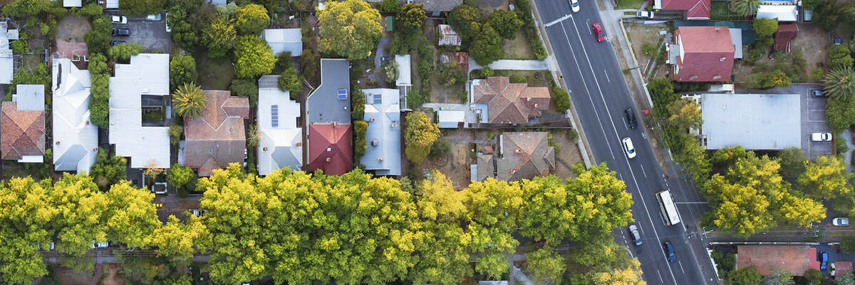 aerial viw of road and houses