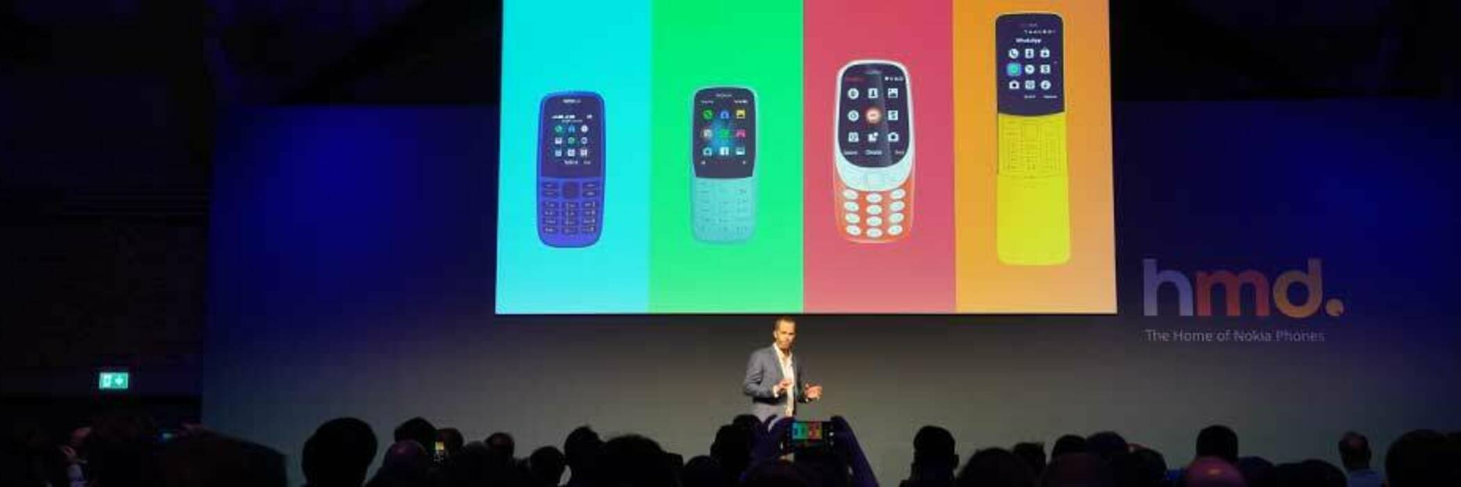 Nokia's feature phones displayed on projector at IFA Berlin electronics trade show.